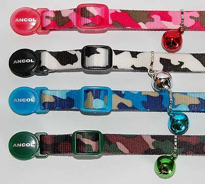 ANCOL CAMOUFLAGE SAFETY RELEASE CAT COLLARS - Single or Multiple Option