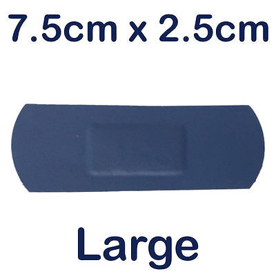 Sterochef Catering Kitchen Blue Washproof First Aid Plasters Large 7.5Cm X 2.5Cm