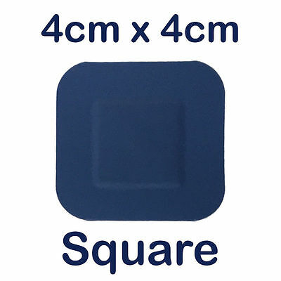 Sterochef Catering Kitchen Blue Washproof First Aid Plasters Square 4Cm X 4Cm
