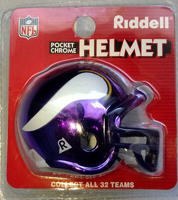 NFL Riddell American Football Pocket Chrome Traditional Helmet MINNESOTA VIKINGS