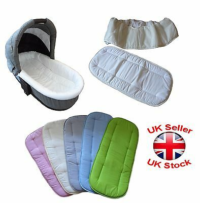 Universal Set of Mattress and Side Liner For Carrycot Replacement New 25x14""