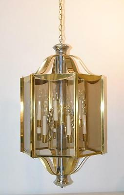 Brass & Chrome 6 Panel 12 Light Chandelier Light Fixture By Frederick Raymond