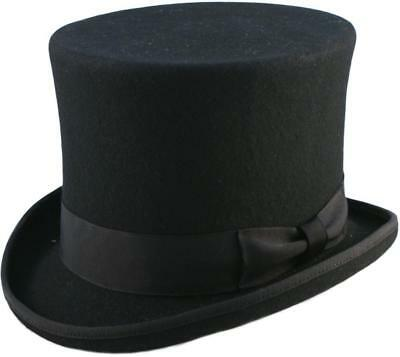 "Quality Hand Made Black 6"" High Top Hat Topper Hat Wedding Hat 6 Sizes"