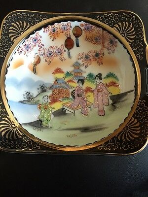 Vintage Hand Painted Asian Rice Bowl Floral fine porcelain with Gold, Japanese