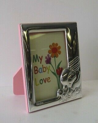 Italian 925 Silver Pink Baby Elephant Kids 4 X 5 Picture Frame Tny2002R-1