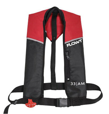 Flowt A/M 33 Automatic/Manual Inflatable Life Jacket Lifevest (PFD)-  Red/Black