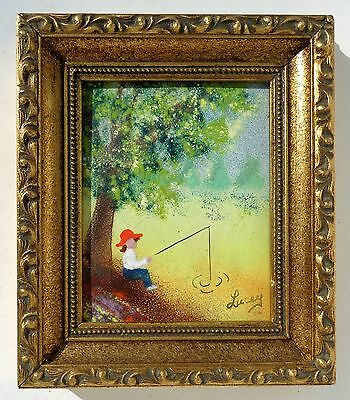 Jean Lucey Listed Artist Signed Enamel On Copper Boy Fishing Framed Painting.
