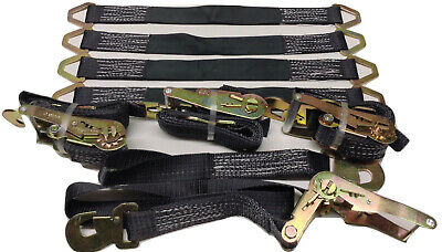 4 Axle Straps Car Hauler Trailer Auto Tie Down 4 Ratchet Straps Tow Kit Black