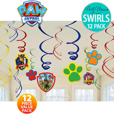 Paw Patrol Birthday Party Supplies Hanging Swirl Decorations Pack Of 12
