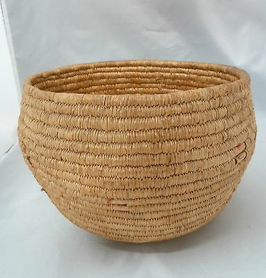 "Native American Weave Basket Bowl Nice Design. Approx 8.5"" W x 6"" T. Brown Bowl"