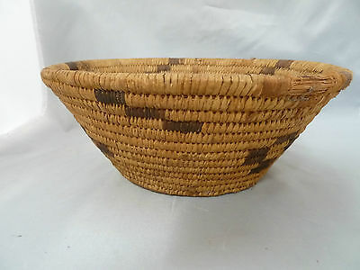 "Native American Weave Basket Bowl Nice Design. Approx 9.5"" W x 4"" T. Brown Bowl"