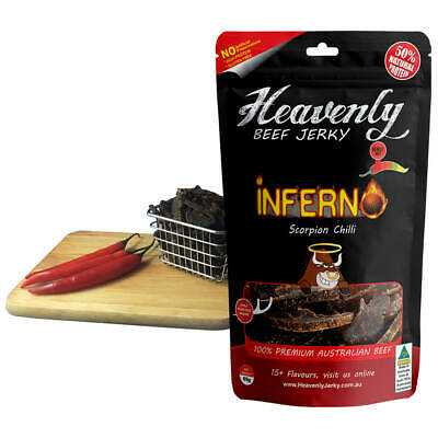 DEADLY HOT -SCORPION - INFERNO 100% Premium Aust Dried BEEF JERKY - 85g 100g 1kg