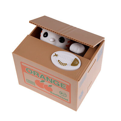 White Itazura Automated Money Stealing Cat Coins Piggy Bank Money Saving Box