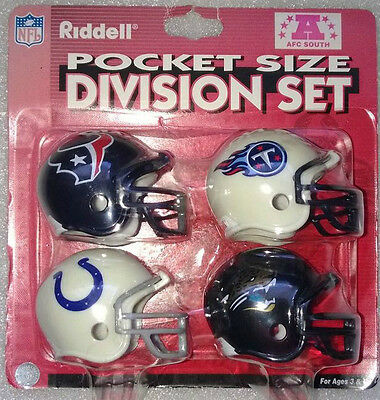NFL American Football Riddell Pocket Pro Traditional Helmet Set of 4 AFC SOUTH