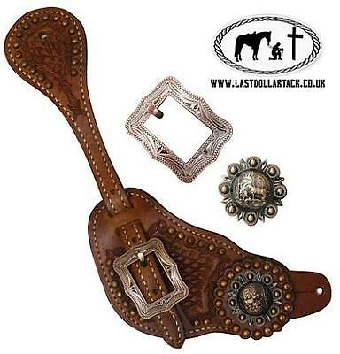 Vintage Style Mens Tooled Leather Spur Straps With Praying Cowboy Copper Conchos
