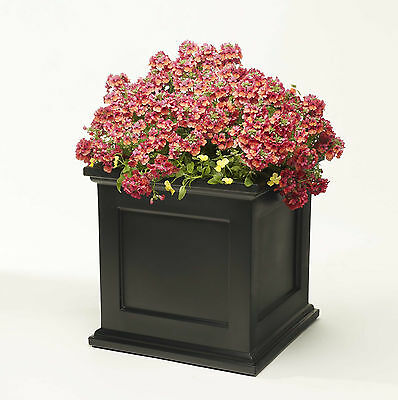 """Large 18"""" Square Black Madison Flower Box Planter W/ Water Minder Feature"""