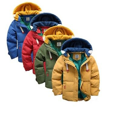 Boys Winter Coat Warm Hood Duck Down School Trendy Parka Casual Long Age Size