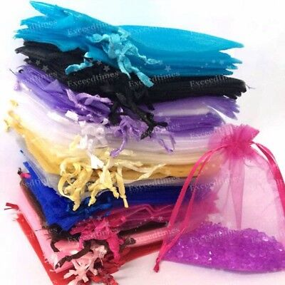 50 100 ORGANZA GIFT BAGS Candy Sheer Jewellery Pouches Wedding Favor Party Decor