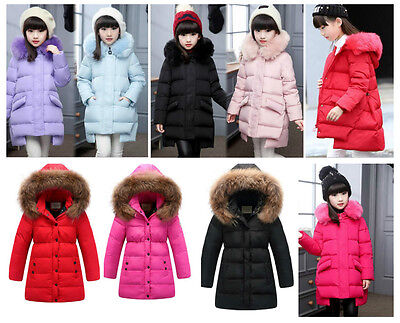 Girls Winter Coat Warm Hood Duck Down School Trendy Parka Casual Long Age Size