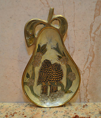Vintage Solid Brass Ashtray Tray Plate Enameled Pear Shaped with OWLS 6-1/2""