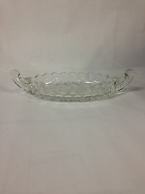 Vintage Fostoria American Small Boat Shaped Clear Glass Relish Condiment Dish
