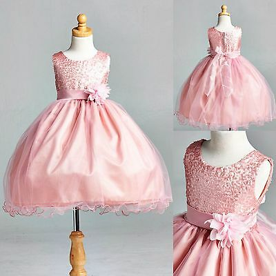 Dusty Rose Sequence Dress Fishing Line Flower Girl Pageant Holiday Wedding #18