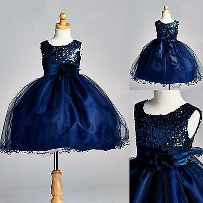 Navy Blue Sequence Dress Flower Girl Pageant Holiday Wedding Christmas Fall #18