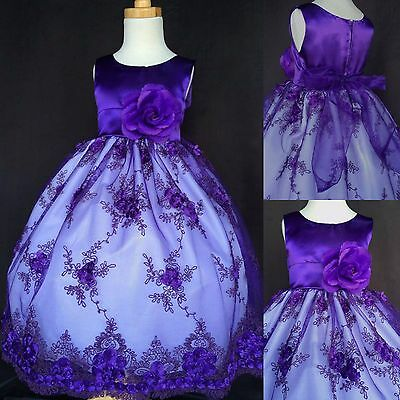 Purple Floral Embroidery Dress Easter Recital Pageant Holiday Flower Girl #012