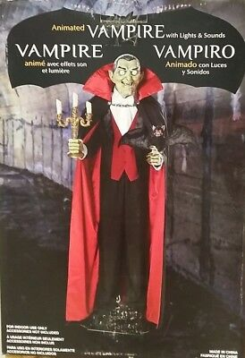 Halloween Prop Motion Animated 180cm Vampire Butler Bat LED & Sound Talks & Move
