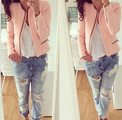 Ladies Smart Fitted Blazer Womens Suit Jacket Casual Office Top Uk 8-16