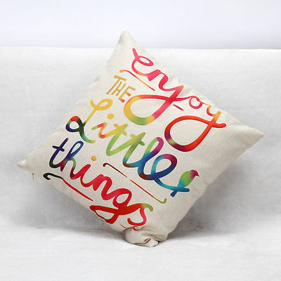 Cotton Linen Colorful Letters Back Cushion Cover Sofa Pillow Case Home Car Decor
