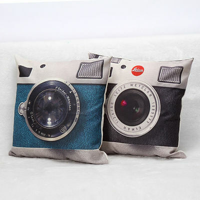 European Vintage Camera Pillow Case Cotton Throw Waist Cushion Cover Home Decor