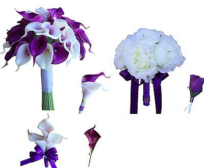 6pc set: wedding package. Real touch calla lily, silk ivory roses.