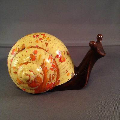 Vintage Snail Figurine Ceramic Yellow Orange Brown Hand Painted Speckled Shell