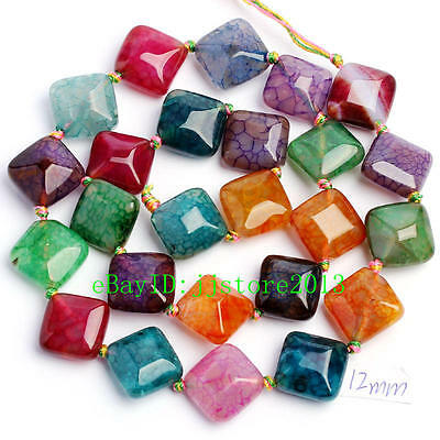 12mm Natural Faceted Cracked Multicolor Agate Rhombic Shape Gemstone Beads 15""