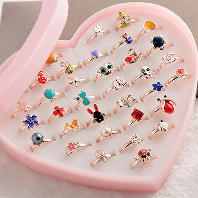 Mixed Wholesale 10 PCS Crystal Cute Animals Flowers Pearls Child Kids Ring Gift