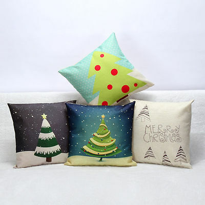 Soft Xmas Tree Cotton Linen Waist Cushion Cover Pillow Case Home Office Decor