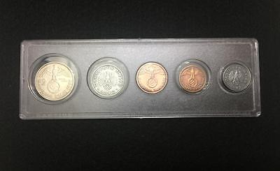 Rare WW2 German Coins Set Big Eagle SILVER Coin with Secure Display Case