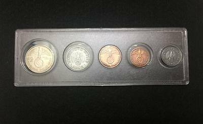 WWII Nazi Germany Third Reich Coins Set Include Silver All with Swastika - VRARE