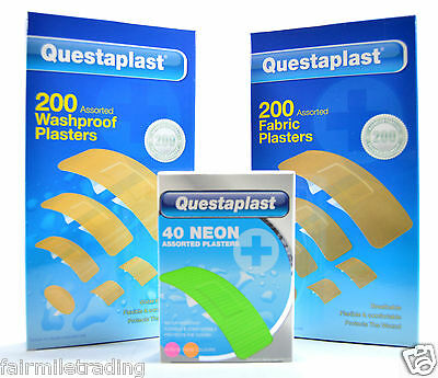 200 Assorted Washproof Waterproof Fabric or 40 Neon Plasters First Aid Free P&P