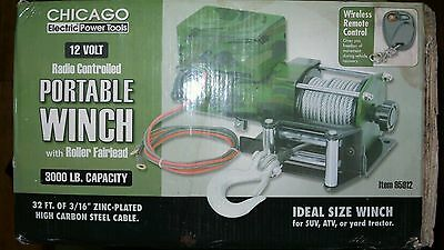 Chicago Electric Power Tool - Radio Controlled Portable Winch W/ Roller Fairlead
