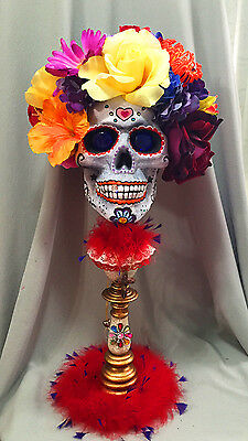 Day of the Dead Skull Sculpture Perfectly Dreadful Halloween OOAK Unique