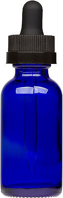 100 Pack Cobalt Blue Glass Bottle w/ Black Child Resistant Glass Dropper 1 oz