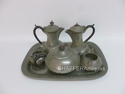 Art Deco CRAFTSMAN Pewter 6 Piece Tea and Coffee Set with Original Tray