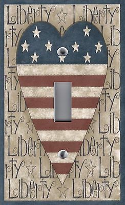 Light Switch Plate Outlet Covers AMERICAN  FLAG STARS STRIPES PATRIOTIC *  HEART