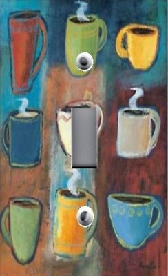 Light Switch Plate Outlet Covers KITCHEN DECOR ~ COFFEE CUPS ~ JAVA ABSTRACT 02