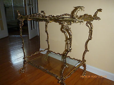 solid brass 100 year old wheeled teacart,, made in Portugal