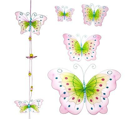 Set of 5 Pink Glittery Butterfly Wall Art Wall Decor & Butterfly Hanging String