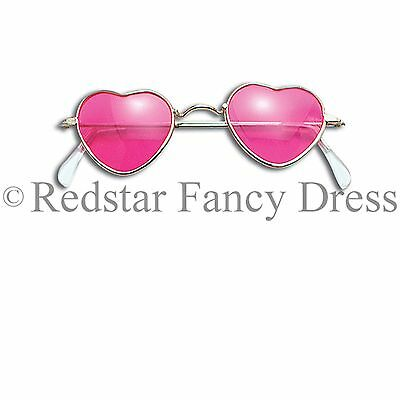 Pink Heart Shaped Novelty Glasses Hippie Hippy 70S 80S Fancy Dress Accessory