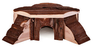 Natural Wood House Play Toy Cave for Small Reptile & Guinea Pig by Trixie